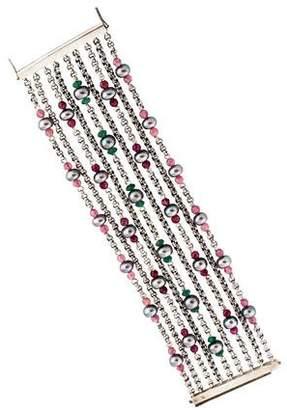 Stephen Dweck Quartz & Pearl Multistrand Bracelet