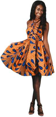 IBTOM CASTLE Women Girl African Printed Maxi Flared Skirt High Waist A Line Dress Short Multi-Way Wrap Infinity Gown with Pockets S