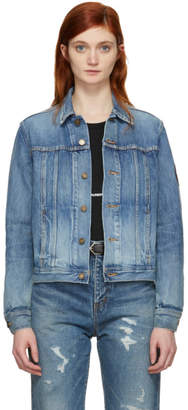 Saint Laurent Blue Denim Patch Slim Jacket