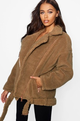 boohoo Teddy Faux Fur Biker Jacket