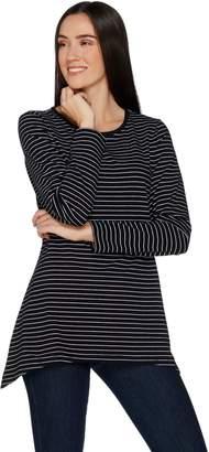 Denim & Co. Perfect Jersey Striped Long Sleeve Trapeze Hem Top