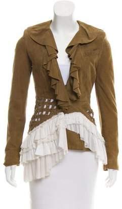 Altuzarra Suede Ruffle-Trimmed Jacket