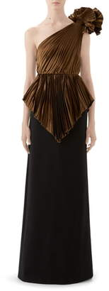 Gucci Plisse One-Shoulder Gown