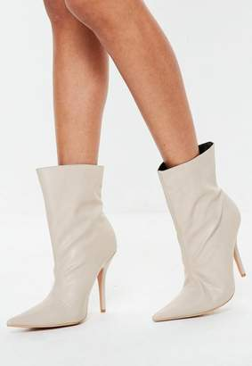 Missguided Nude Pointed Ankle Boots