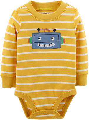 Carter's Baby Boy Striped Robot Applique Bodysuit