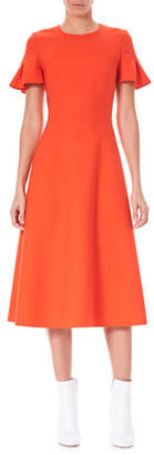 Carolina Herrera Ruffle-Sleeve Fit-and-Flare Wool-Blend Midi Dress
