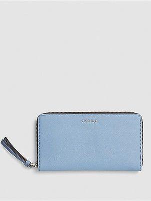 Calvin KleinCalvin Klein Womens Saffiano Large Zip Wallet Cashmere Blue