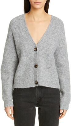 Ganni V-Neck Wool Blend Cardigan