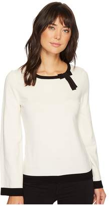 CeCe Contrast Tipped Pullover Sweater w/ Bow Women's Sweater