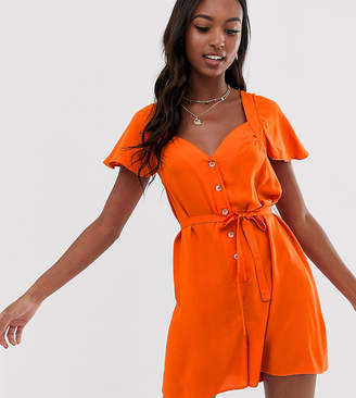 Asos Tall DESIGN Tall button front frill sleeve playsuit with cut out back