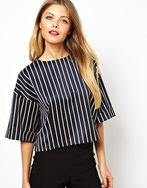Asos Shell Top with Box Sleeve in Pinstripe - Pinstripe