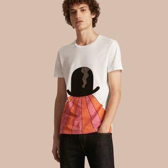 Burberry Bowler Hat Motif and Stripe Print Cotton T-shirt $225 thestylecure.com