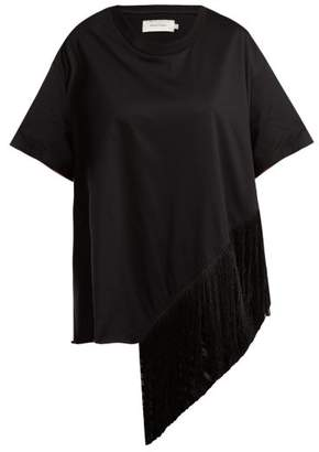 Marques Almeida Marques'almeida - Asymmetric Fringed Cotton T Shirt - Womens - Black