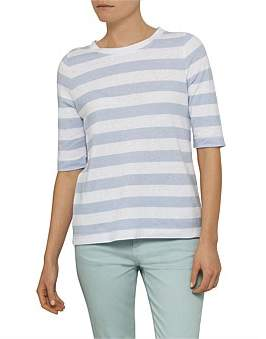 David Jones Half Sleeve Wide Stripe Top