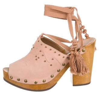 Ulla Johnson Suede Lace-Up Clogs