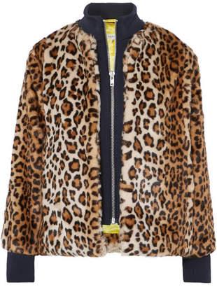Ganni Ferris Jersey-trimmed Leopard-print Faux Fur Jacket - Leopard print