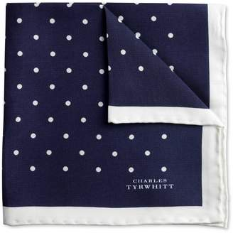Charles Tyrwhitt Navy and White Classic Printed Spot Silk Pocket Square