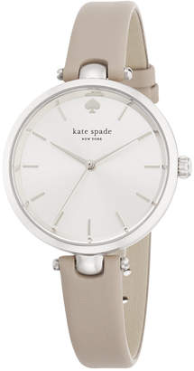 kate spade new york Women's Holland Gray Leather Strap Watch 34mm 1YRU0813 $150 thestylecure.com