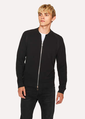 Paul Smith Men's Black Cardigan With 'Cycle Stripe' Stitch Detail