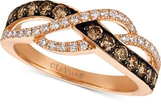LeVian Le Vian Chocolatier® Diamond Crisscross Ring (5/8 ct. t.w.) in 14k Rose Gold