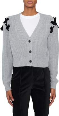 Adeam Velvet Ribbon Cashmere Cardigan