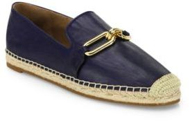 Michael Kors Collection Lennox Leather Espadrille Flats
