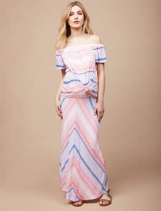 Motherhood Maternity Fold Over Belly Maternity Maxi Skirt- Multi Chevron