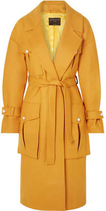 Mother of Pearl Weston Faux Pearl-embellished Wool-blend Coat - Mustard