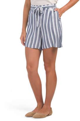 Stripe Twill Paper Bag Shorts