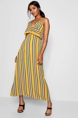 boohoo Ruffle Front Striped Maxi Dress