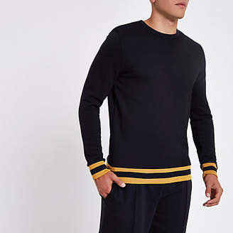 River Island Navy crew neck slim fit sweater
