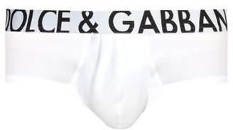 Dolce & Gabbana Logo Embroidered Briefs - Mens - White