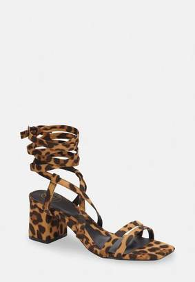 Missguided Brown Leopard Two Strap Lace Up Mid Heel Sandals