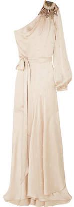 Temperley London Parachute One-shoulder Embellished Satin-jacquard Maxi Dress - Cream