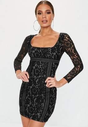 Missguided Petite Black Long Sleeve Lace Overlay Mini Dress