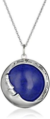 "Lapis Sterling Silver Lazuli Moon ""I love you to the moon and back"" Pendant Necklace"