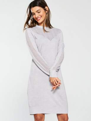 0209b193bd01 Very Mesh Panel Detail Knitted Dress - Grey Marl