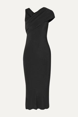 Rick Owens Asymmetric Draped Crepe And Cotton-jersey Midi Dress - Black