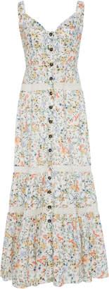 Saloni Fara Button Front Tiered Cotton Dress