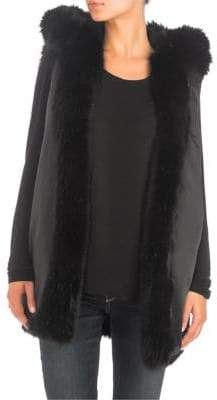 GUESS Kimie Faux Fur Reversible Hooded Vest