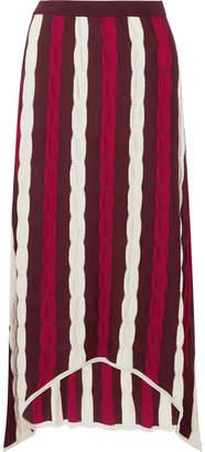 Marni Asymmetric Striped Wool Maxi Skirt - Red