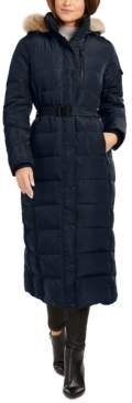 Michael Kors Michael Belted Faux-Fur Trim Hooded Maxi Down Coat