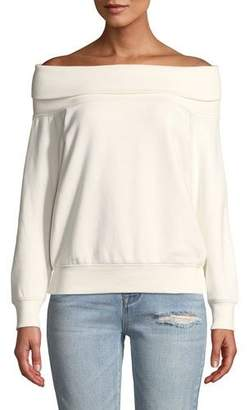 KENDALL + KYLIE Off-Shoulder Cotton Pullover Sweatshirt