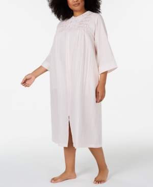 Miss Elaine Plus Size Embroidered Seersucker Long Zip-Up Robe