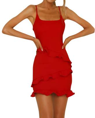 OldSch001 Women's Summer Solid Sleeveless Beach Dress Ladies Ruffle Holiday Party Dresses(,L)