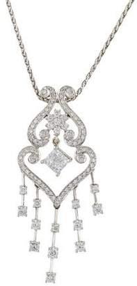 18K Diamond Pendant Scroll Necklace