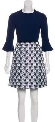 Mary Katrantzou Long Sleeve Jacquard Dress