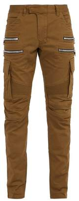 Balmain Biker Style Cotton Blend Cargo Trousers - Mens - Green