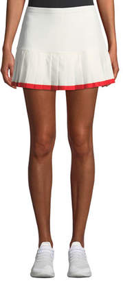 Tory Sport Pleated Tennis Skirt w/ Contrast Hem