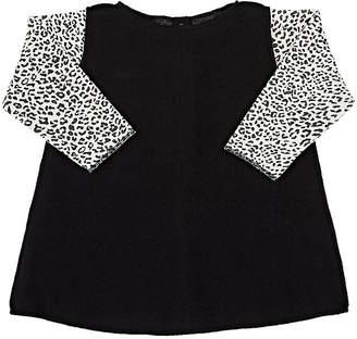 Amelia Leopard-Print-Sleeves Brushed Cotton-Blend Dress